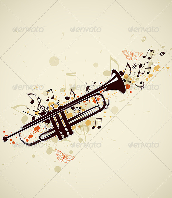 GraphicRiver Abstract Trumpet and Notes 4696576