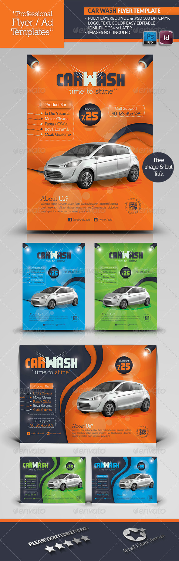 car wash flyer template graphicriver. Black Bedroom Furniture Sets. Home Design Ideas
