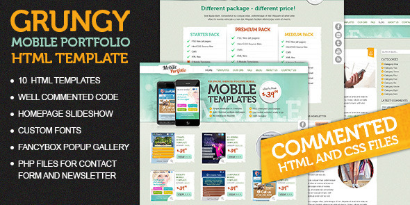 ThemeForest Grungy Mobile Portfolio HTML Theme 4697685
