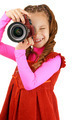 smiling little girl in red dress with camera - PhotoDune Item for Sale