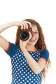 smiling little girl in stars dress with camera - PhotoDune Item for Sale