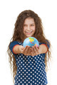 smiling little girl with globe - PhotoDune Item for Sale