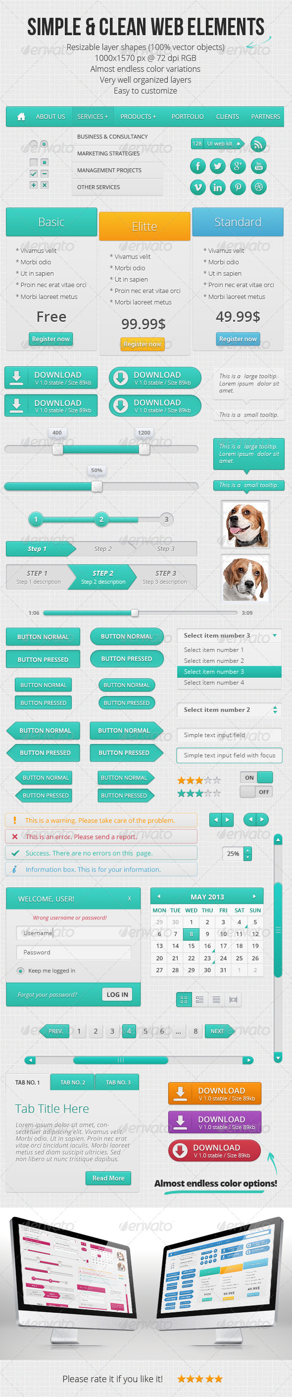 GraphicRiver Simple and Clean Web Elements 4702913