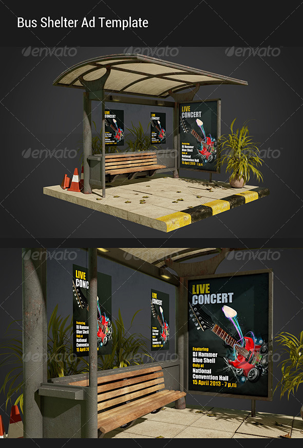 GraphicRiver Bus Shelter Ad Mock-Ups 4704018