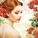 Relaxation. Profile of Red Hair Beauty over Natural Floral Background. Nature. Blossom - PhotoDune Item for Sale