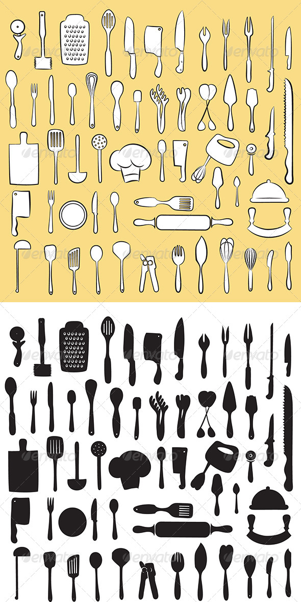 GraphicRiver Kitchen Utensil Set Vector 4706133