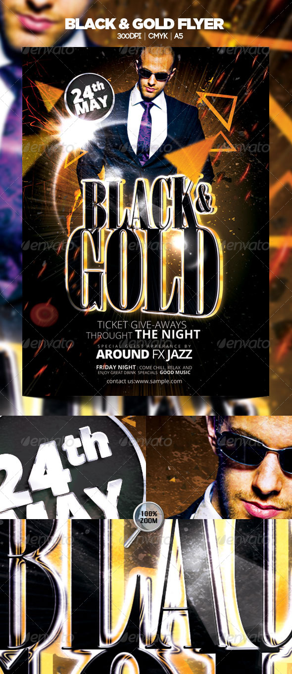 GraphicRiver Black & Gold Flyer 4708092