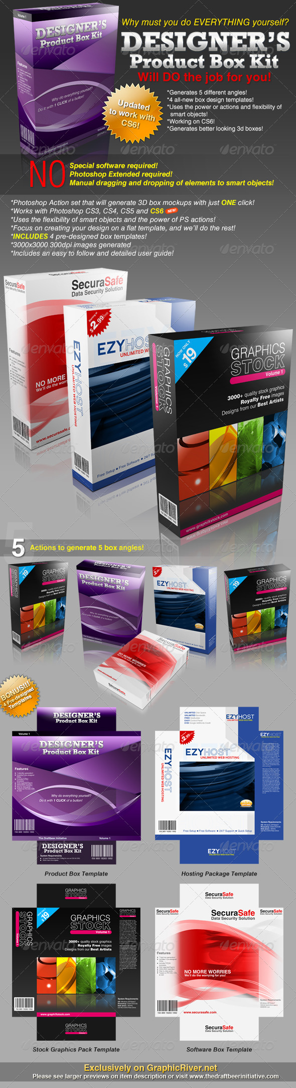 Designer's Product Box Kit (Action+Templates set) - Photoshop Add-ons
