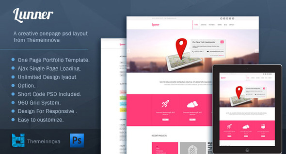 ThemeForest Lunner One Page Portfolio Template 4255869