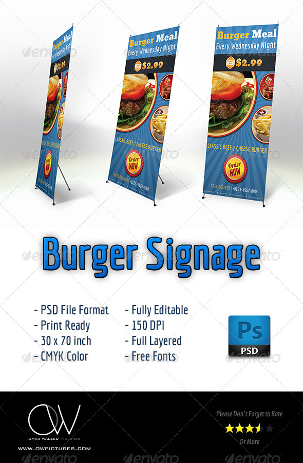 GraphicRiver Burger Restaurant Signage 4586975