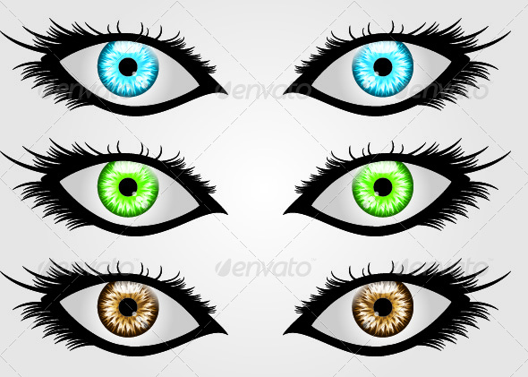 GraphicRiver Three Sets of Eyes In Different Colors 4710668