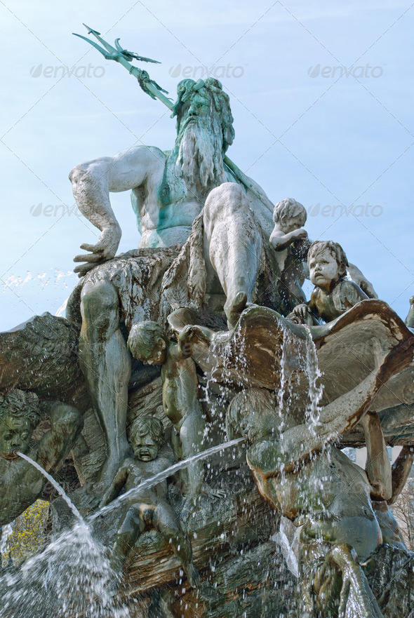 Neptune Fountain in Berlin - Stock Photo - Images