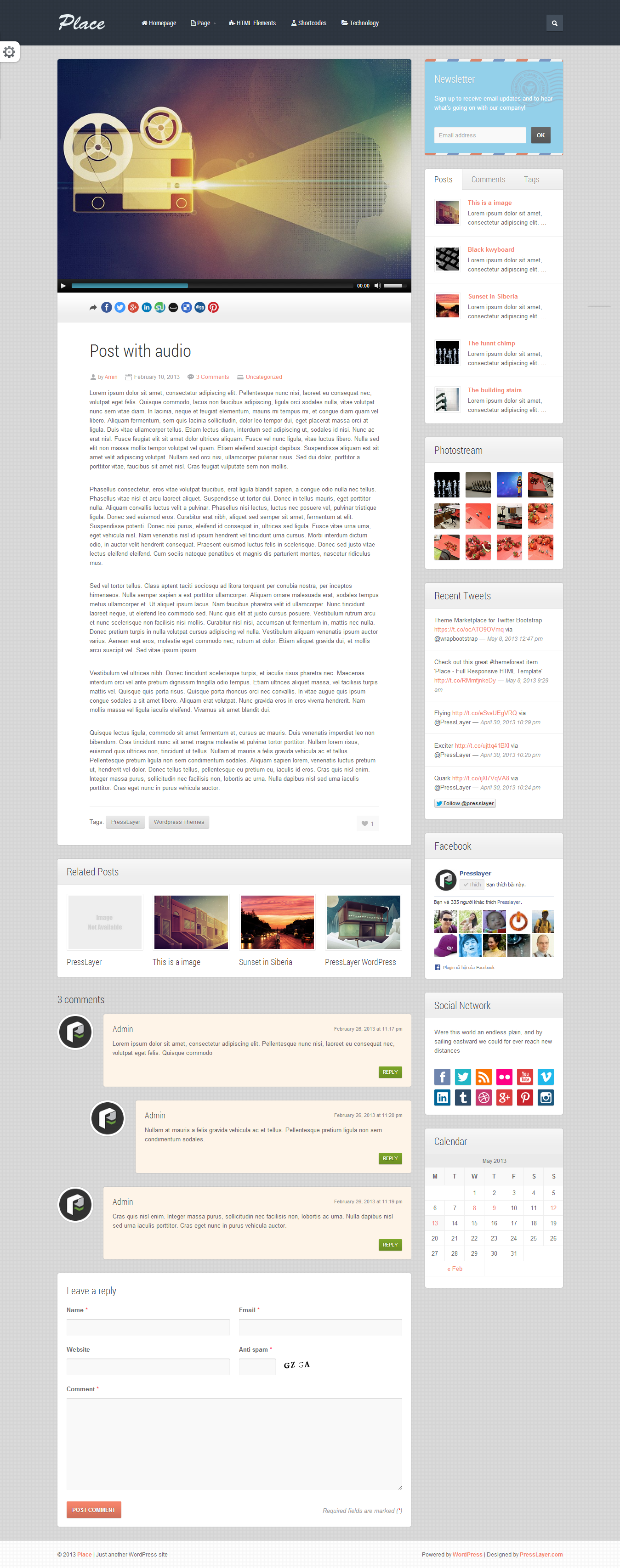 Place - Responsive Blogging WordPress Theme - 02_Single.png Screenshot of single post