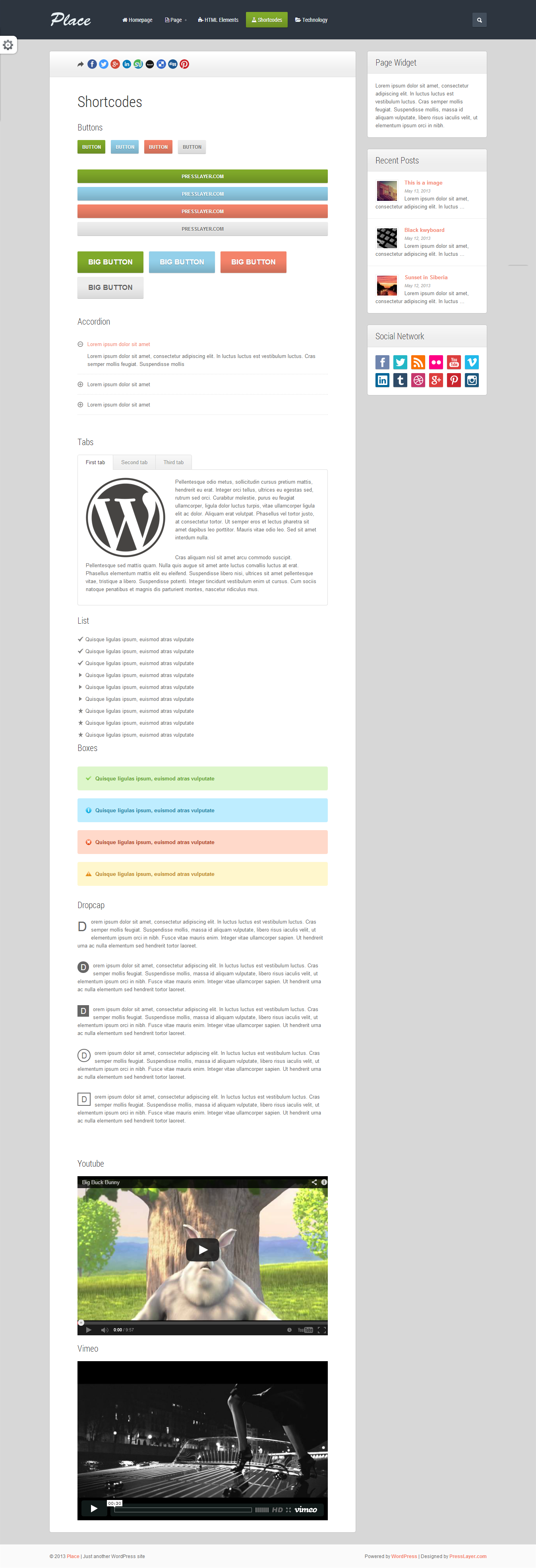 Place - Responsive Blogging WordPress Theme - 03_Shortcodes.png Screenshot of all shortcodes styles in template