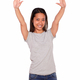 Asiatic young woman greeting with two hands up - PhotoDune Item for Sale