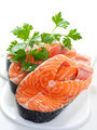 Slices of salmon, isolated on a white background. - PhotoDune Item for Sale