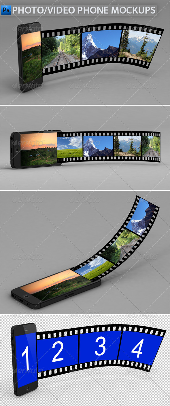 GraphicRiver Video Photo Phone Mock-Ups 4717016