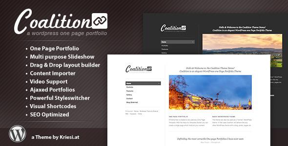 ThemeForest Coalition One Page WordPress Portfolio 492528