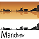 Manchester Skyline in Orange Background - GraphicRiver Item for Sale