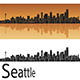Seattle Skyline in Orange Background - GraphicRiver Item for Sale
