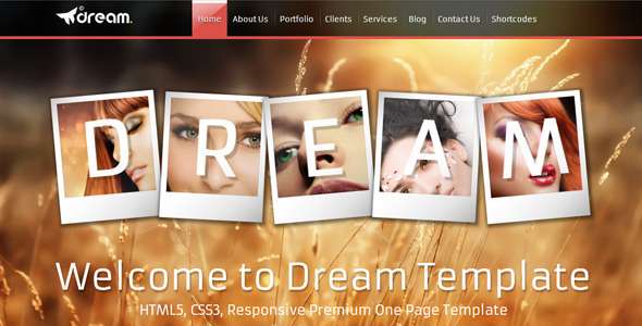 ThemeForest Dream Html5 One Page Responsive Template 4641239