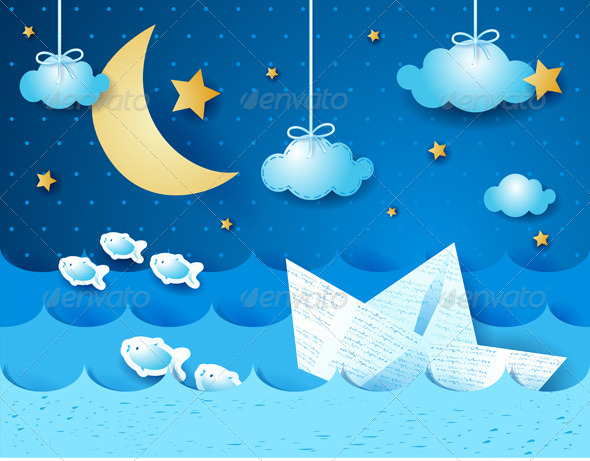 GraphicRiver Paper Boat at Night 4718346