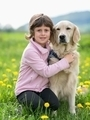 Girl hugging a big dog in an outdoor setting - PhotoDune Item for Sale