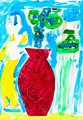 child's paiting - blue and green flowers in vase - PhotoDune Item for Sale
