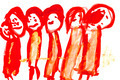 child's drawing - red people - PhotoDune Item for Sale