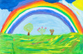 child's paiting - rainbow under green earth - PhotoDune Item for Sale
