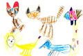 child's drawing - domestic animals - PhotoDune Item for Sale