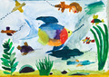 child's painting - fishes in sea - PhotoDune Item for Sale