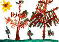 child's drawing - spruce trees in summer day - PhotoDune Item for Sale