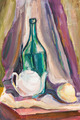 child's paiting - still life with green bottle and white teapot - PhotoDune Item for Sale