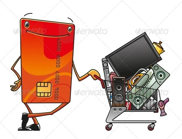 GraphicRiver Credit Card with Shopping Cart of Electronics 4719936