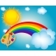 Cloud, Sun, Rainbow Vector Illustration Background - GraphicRiver Item for Sale