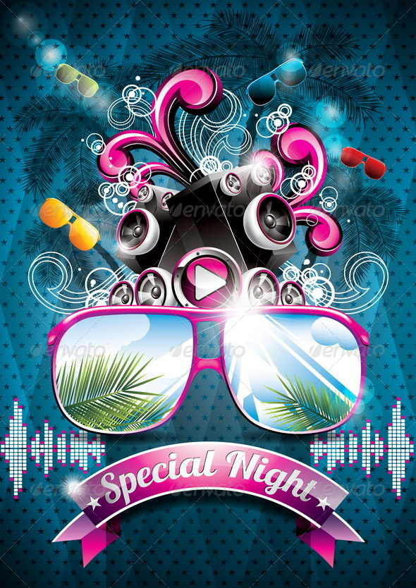GraphicRiver Summer Beach Party Flyer Design with Speakers 4721642