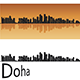 Doha Skyline in Orange Background - GraphicRiver Item for Sale
