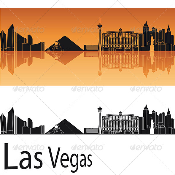 GraphicRiver Las Vegas Skyline in Orange Background 4721753