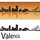Valencia Skyline in Orange Background - GraphicRiver Item for Sale