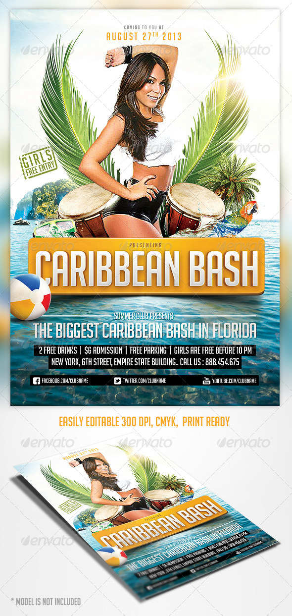 GraphicRiver Caribbean Party Flyer Template 4722741