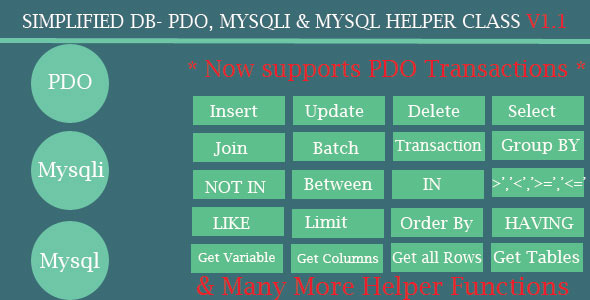 Simplified DB - PDO, Mysqli, Mysql Helper Class - CodeCanyon Item for Sale