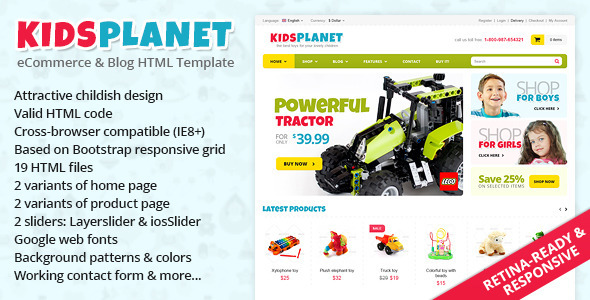 ThemeForest Kids Planet Responsive Ecommerce Blog HTML Theme 4710674