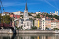 View of Lyon city with red footbridge - PhotoDune Item for Sale