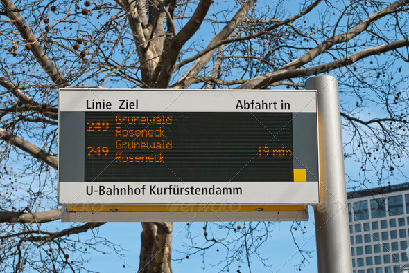 Bus Stop Sign in Berlin  - Stock Photo - Images