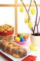 Easter sweet bread with multicolored eggs and shortbread cookies - PhotoDune Item for Sale