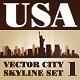 Vector City Skyline USA Set Number 1 - GraphicRiver Item for Sale