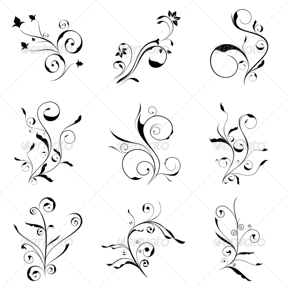 GraphicRiver Curly Flowers Designs Vector Pack 4730225