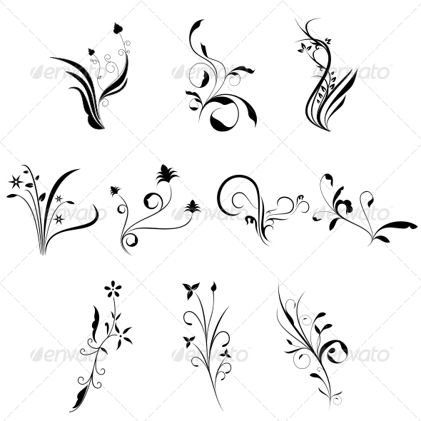 GraphicRiver Curly Flowers Designs Vector Pack 4730257