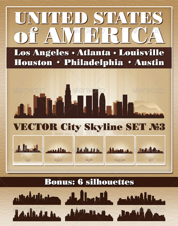 GraphicRiver Vector City Skyline USA Set Number 3 4730386